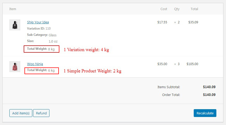 Show product weight in admin order item meta